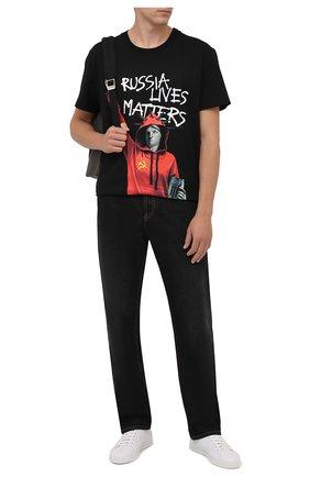 Мужская хлопковая футболка DIEGO VENTURINO черного цвета, арт. FW21-DV TS0 WWE-RLM | Фото 2