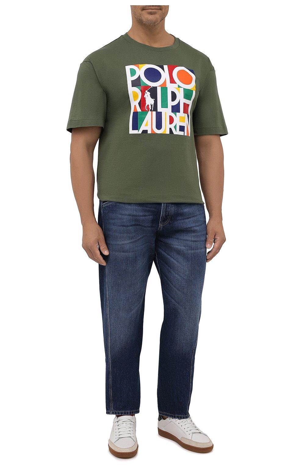 Мужская хлопковая футболка POLO RALPH LAUREN хаки цвета, арт. 711843380/PRL BS   Фото 2 (Big sizes: Big Sizes; Рукава: Короткие; Принт: С принтом; Длина (для топов): Удлиненные; Материал внешний: Хлопок)
