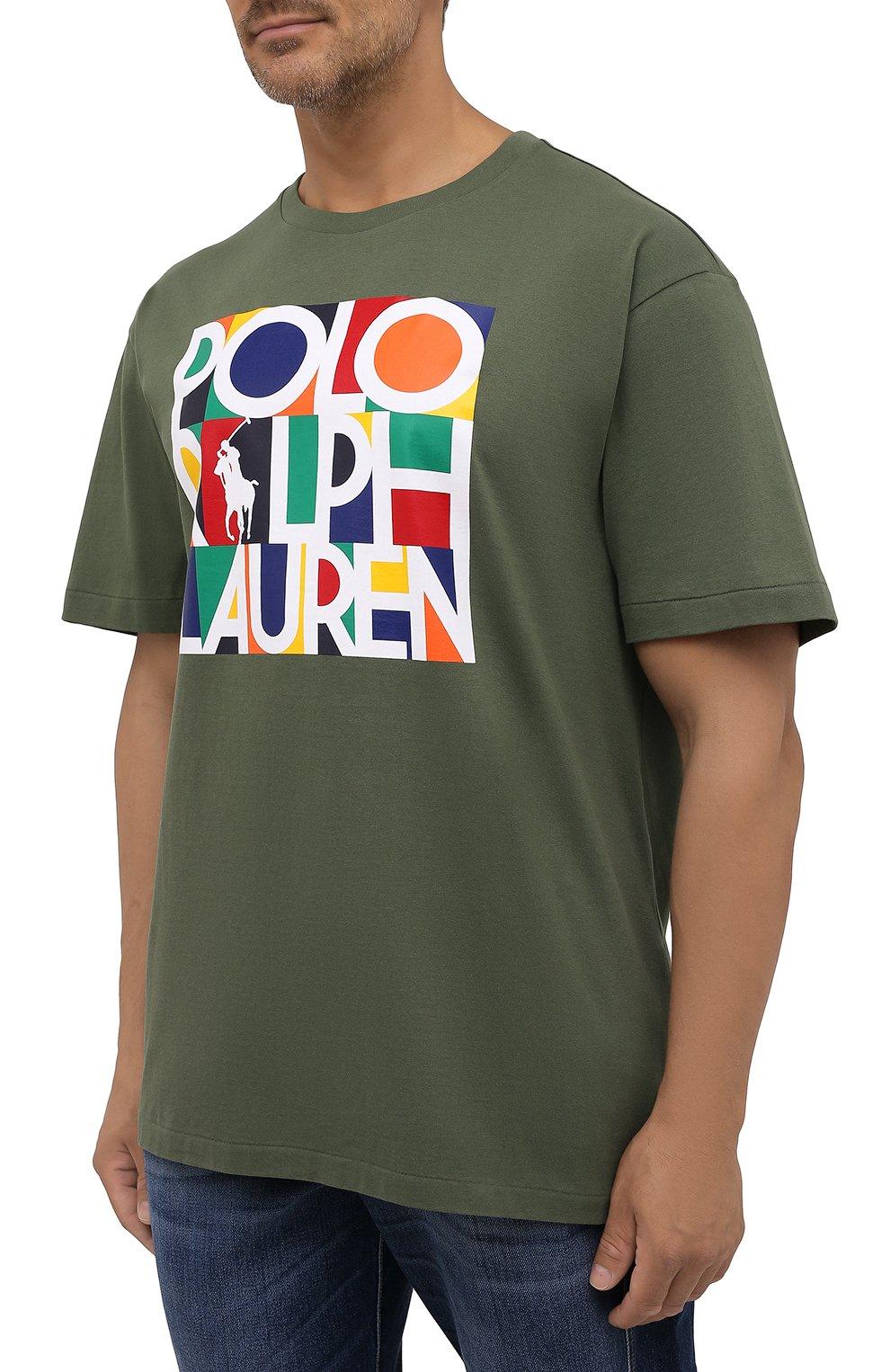 Мужская хлопковая футболка POLO RALPH LAUREN хаки цвета, арт. 711843380/PRL BS   Фото 3 (Big sizes: Big Sizes; Рукава: Короткие; Принт: С принтом; Длина (для топов): Удлиненные; Материал внешний: Хлопок)