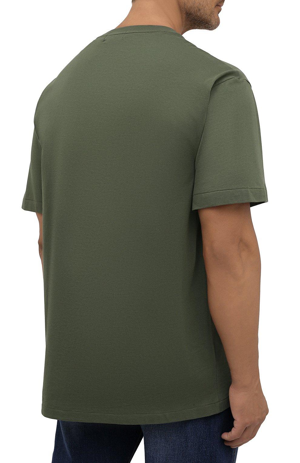 Мужская хлопковая футболка POLO RALPH LAUREN хаки цвета, арт. 711843380/PRL BS   Фото 4 (Big sizes: Big Sizes; Рукава: Короткие; Принт: С принтом; Длина (для топов): Удлиненные; Материал внешний: Хлопок)