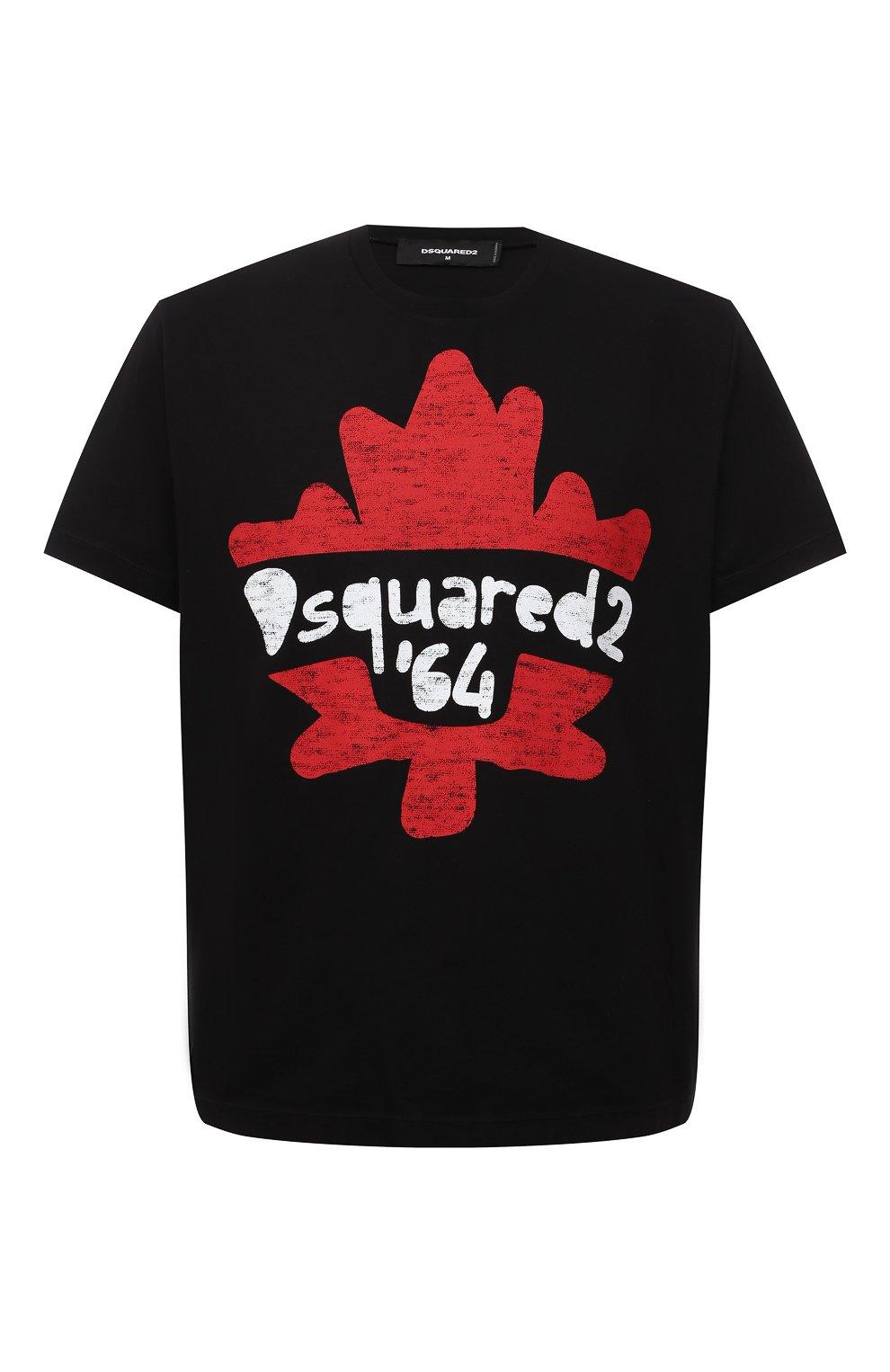Мужская хлопковая футболка DSQUARED2 черного цвета, арт. S71GD1100/S22427 | Фото 1 (Рукава: Короткие; Длина (для топов): Стандартные; Принт: С принтом; Материал внешний: Хлопок)