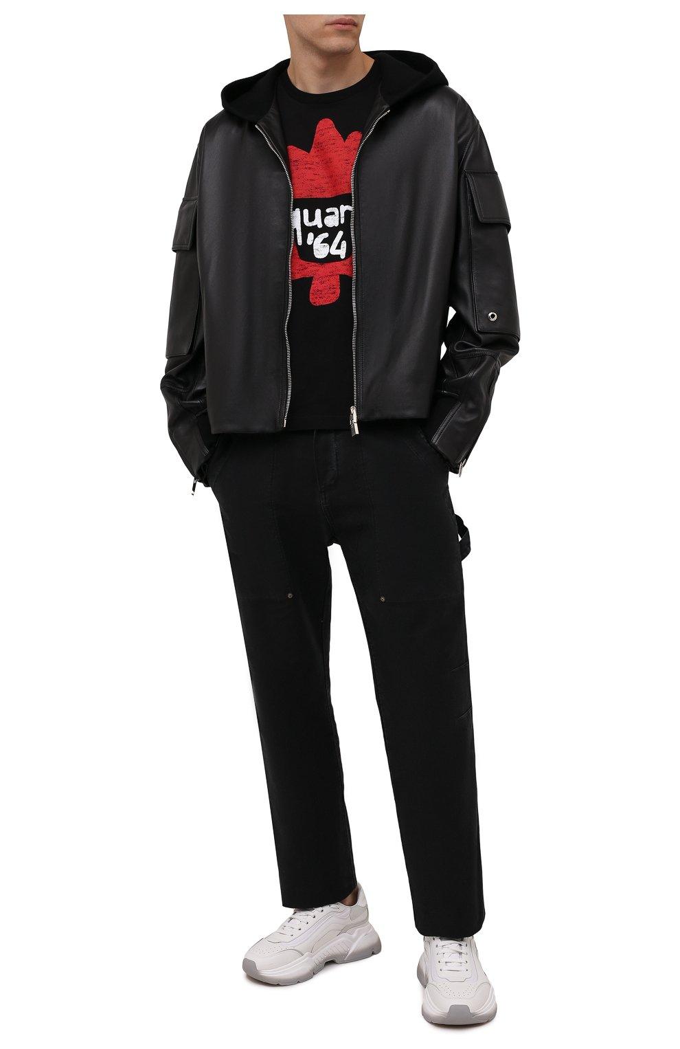 Мужская хлопковая футболка DSQUARED2 черного цвета, арт. S71GD1100/S22427 | Фото 2 (Рукава: Короткие; Длина (для топов): Стандартные; Принт: С принтом; Материал внешний: Хлопок)