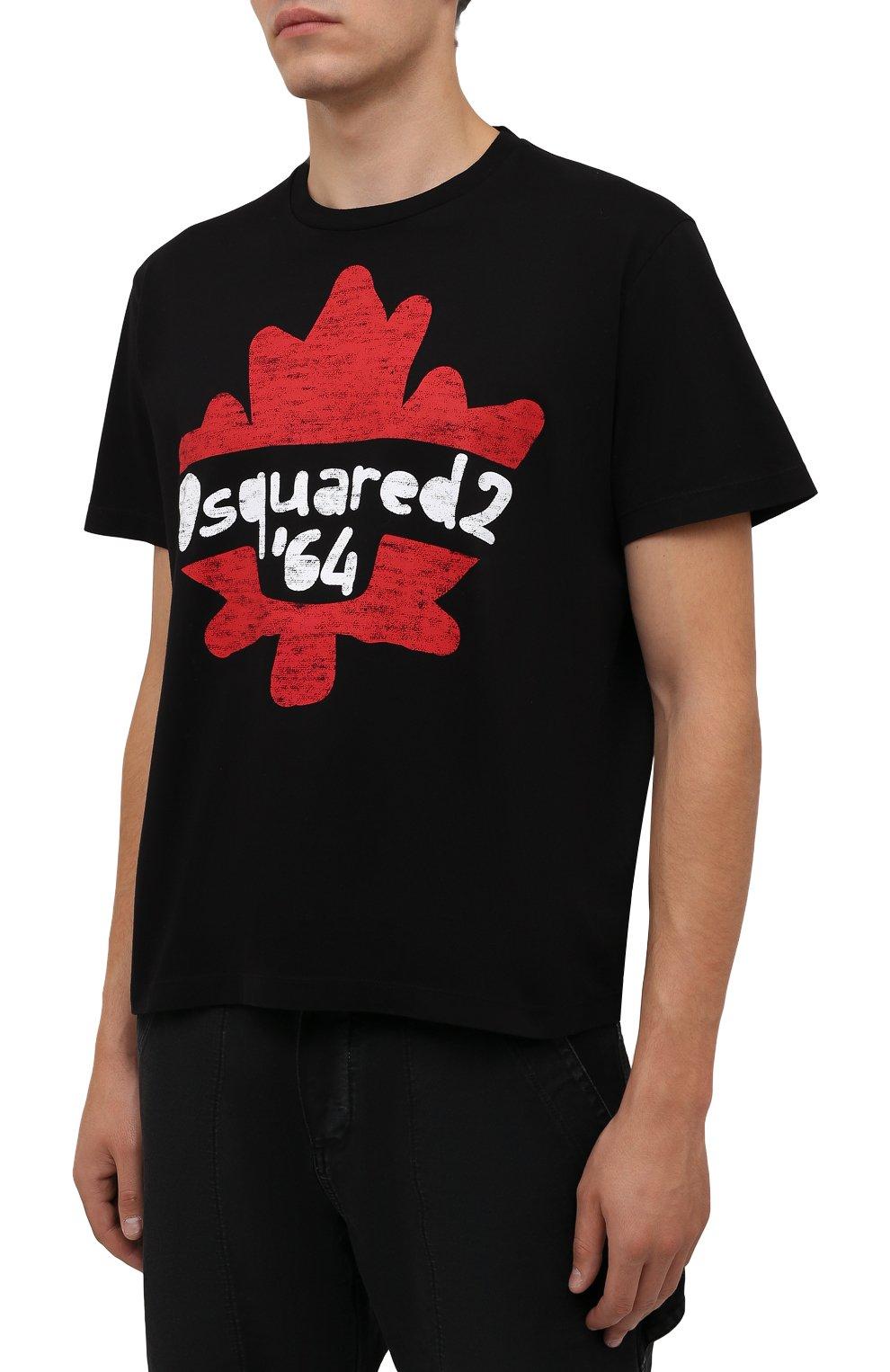 Мужская хлопковая футболка DSQUARED2 черного цвета, арт. S71GD1100/S22427 | Фото 3 (Рукава: Короткие; Длина (для топов): Стандартные; Принт: С принтом; Материал внешний: Хлопок)
