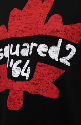 Мужская хлопковая футболка DSQUARED2 черного цвета, арт. S71GD1100/S22427 | Фото 5 (Рукава: Короткие; Длина (для топов): Стандартные; Принт: С принтом; Материал внешний: Хлопок)