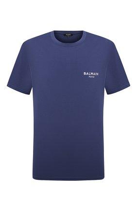 Мужская хлопковая футболка BALMAIN синего цвета, арт. BRM305210   Фото 1