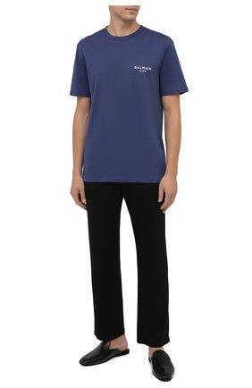 Мужская хлопковая футболка BALMAIN синего цвета, арт. BRM305210   Фото 2