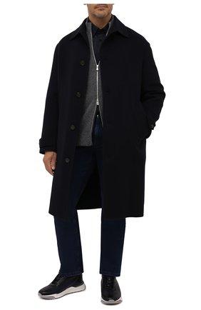 Мужской кашемировое пальто LORO PIANA темно-синего цвета, арт. FAL6978 | Фото 2 (Материал внешний: Кашемир, Шерсть; Мужское Кросс-КТ: пальто-верхняя одежда; Стили: Кэжуэл; Длина (верхняя одежда): До колена; Рукава: Длинные)