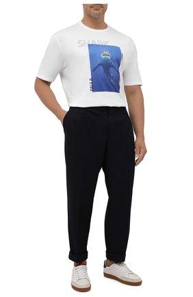 Мужская хлопковая футболка PAUL&SHARK белого цвета, арт. 11311662/C00/3XL-6XL | Фото 2 (Длина (для топов): Удлиненные; Материал внешний: Хлопок; Рукава: Короткие; Принт: С принтом)