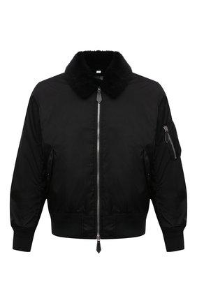 Мужской утепленный бомбер BURBERRY черного цвета, арт. 8041381 | Фото 1 (Рукава: Длинные; Материал внешний: Синтетический материал; Материал подклада: Купро; Длина (верхняя одежда): Короткие; Кросс-КТ: Куртка; Принт: С принтом)