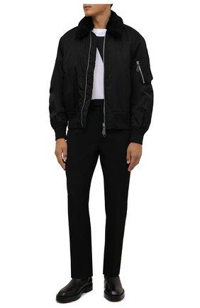 Мужской утепленный бомбер BURBERRY черного цвета, арт. 8041381 | Фото 2 (Рукава: Длинные; Материал внешний: Синтетический материал; Материал подклада: Купро; Длина (верхняя одежда): Короткие; Кросс-КТ: Куртка; Принт: С принтом)