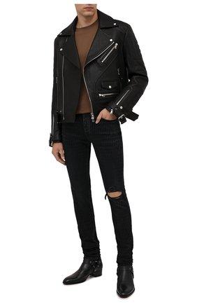 Мужские джинсы AMIRI черного цвета, арт. MDS051-023 | Фото 2 (Длина (брюки, джинсы): Стандартные; Материал внешний: Хлопок; Кросс-КТ: Деним; Силуэт М (брюки): Узкие)