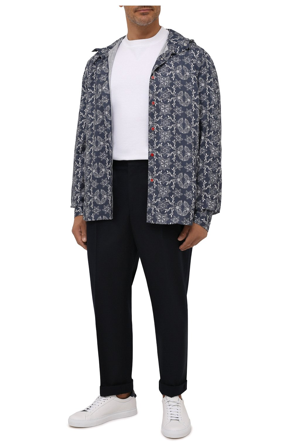 Мужская хлопковая рубашка KITON синего цвета, арт. UMCMARH0784101/47-50   Фото 2 (Воротник: С капюшоном; Рукава: Длинные; Манжеты: На кнопках; Случай: Повседневный; Длина (для топов): Стандартные; Принт: С принтом; Материал внешний: Хлопок)