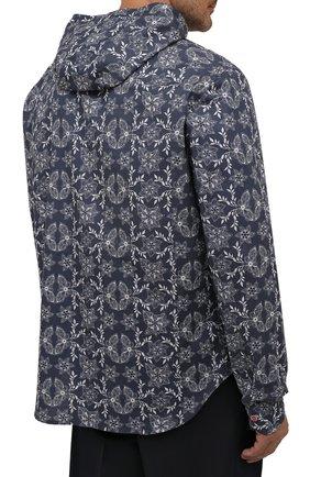 Мужская хлопковая рубашка KITON синего цвета, арт. UMCMARH0784101/47-50   Фото 4 (Воротник: С капюшоном; Рукава: Длинные; Манжеты: На кнопках; Случай: Повседневный; Длина (для топов): Стандартные; Принт: С принтом; Материал внешний: Хлопок)