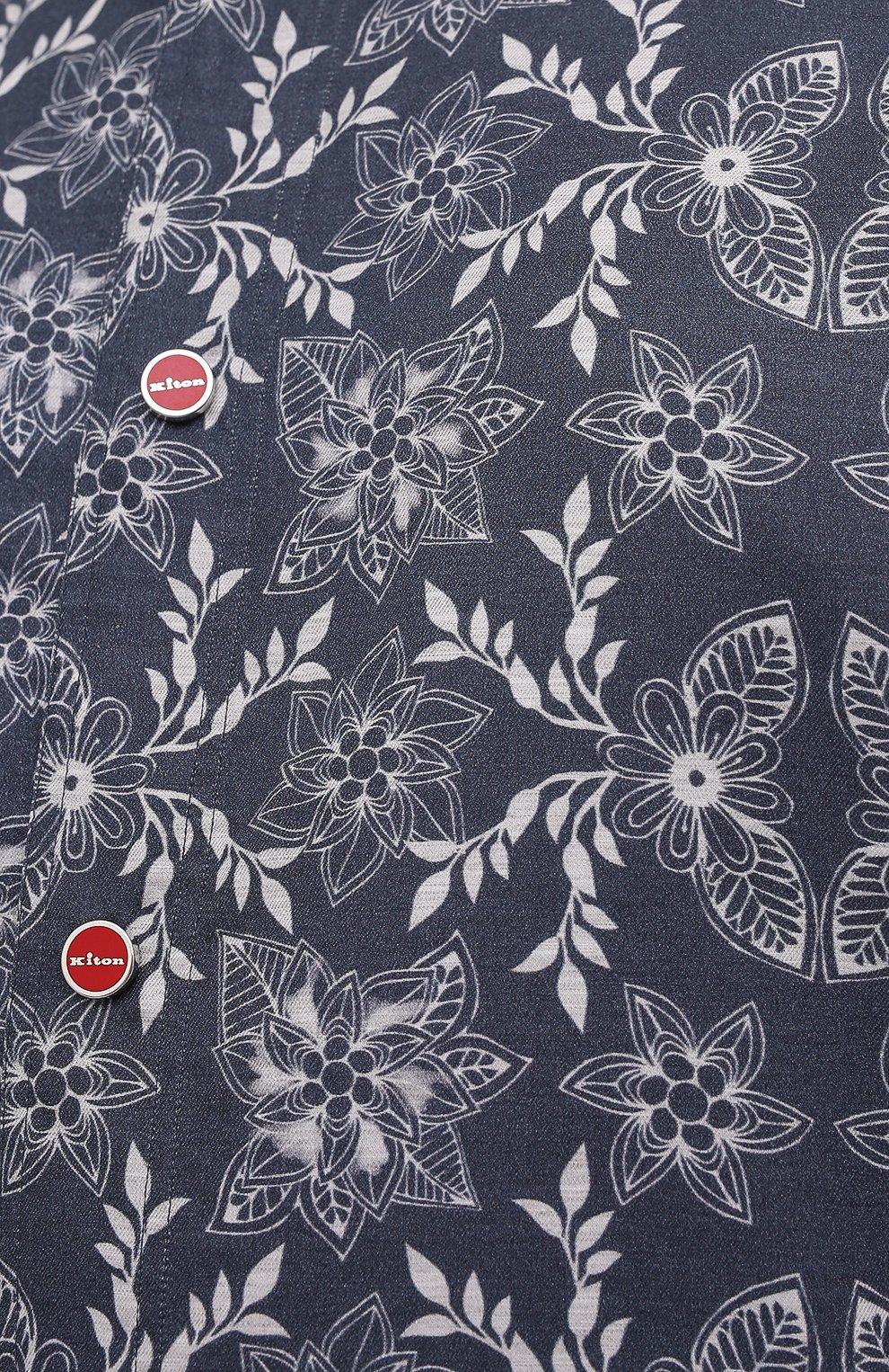Мужская хлопковая рубашка KITON синего цвета, арт. UMCMARH0784101/47-50   Фото 5 (Воротник: С капюшоном; Рукава: Длинные; Манжеты: На кнопках; Случай: Повседневный; Длина (для топов): Стандартные; Принт: С принтом; Материал внешний: Хлопок)