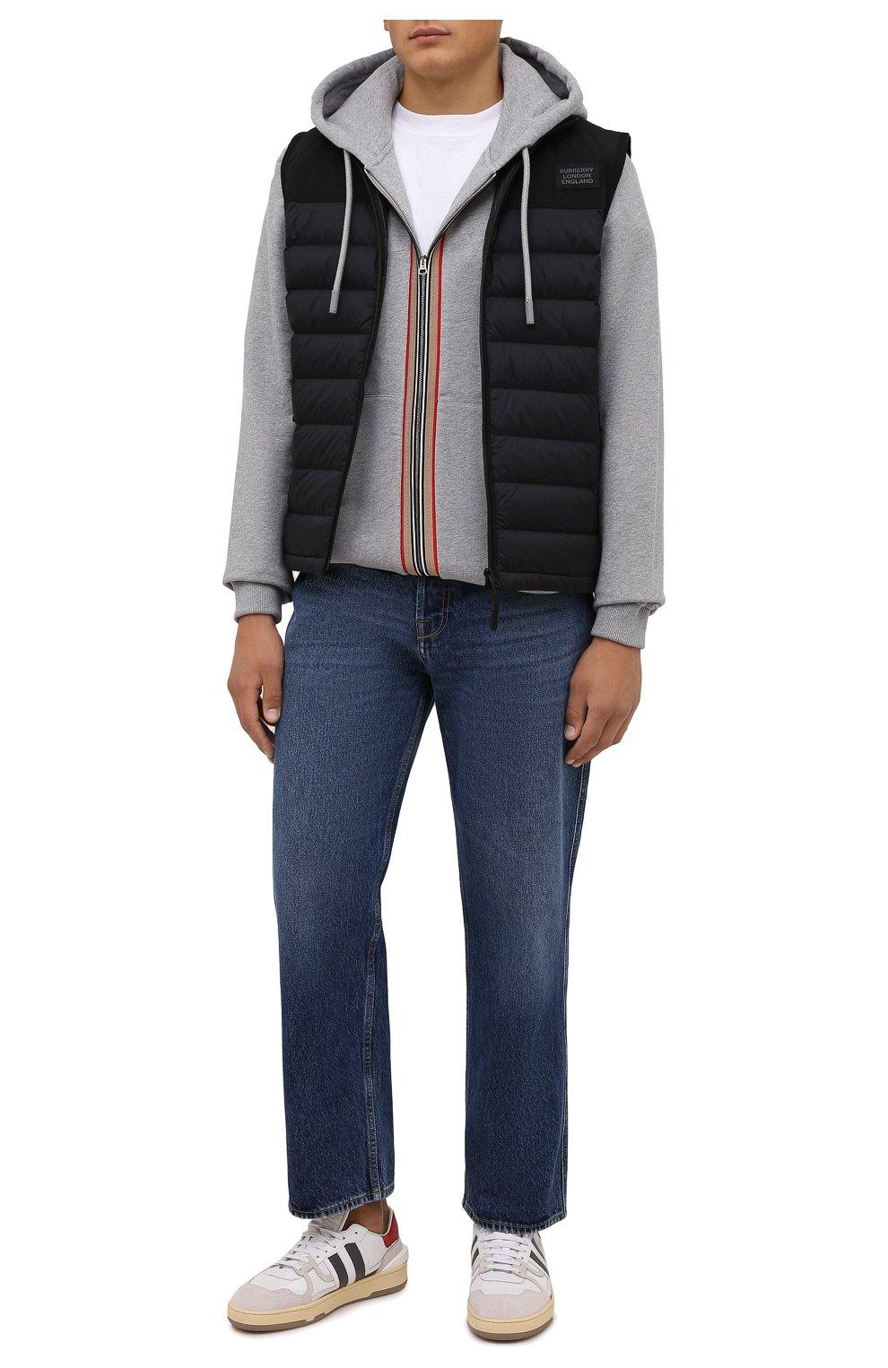 Мужской хлопковая толстовка BURBERRY серого цвета, арт. 8043283 | Фото 2 (Рукава: Длинные; Мужское Кросс-КТ: Толстовка-одежда; Длина (для топов): Стандартные; Материал внешний: Хлопок)