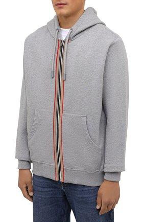 Мужской хлопковая толстовка BURBERRY серого цвета, арт. 8043283 | Фото 3 (Рукава: Длинные; Мужское Кросс-КТ: Толстовка-одежда; Длина (для топов): Стандартные; Материал внешний: Хлопок)