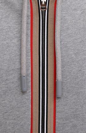 Мужской хлопковая толстовка BURBERRY серого цвета, арт. 8043283 | Фото 5 (Рукава: Длинные; Мужское Кросс-КТ: Толстовка-одежда; Длина (для топов): Стандартные; Материал внешний: Хлопок)