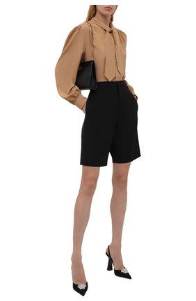 Женские текстильные туфли la medusa VERSACE черного цвета, арт. 1001207/1A00619   Фото 2 (Материал внутренний: Натуральная кожа; Каблук высота: Высокий; Материал внешний: Текстиль; Подошва: Плоская; Каблук тип: Устойчивый)
