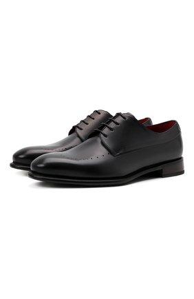 Мужские кожаные дерби BARRETT темно-серого цвета, арт. 211U037.10/BETIS CREAM | Фото 1 (Материал внутренний: Натуральная кожа; Стили: Классический; Мужское Кросс-КТ: Броги-обувь)