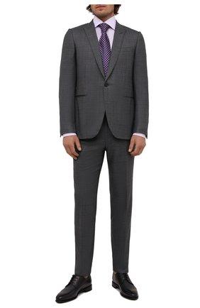 Мужские кожаные дерби BARRETT темно-серого цвета, арт. 211U037.10/BETIS CREAM | Фото 2 (Материал внутренний: Натуральная кожа; Стили: Классический; Мужское Кросс-КТ: Броги-обувь)