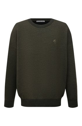 Мужской свитер из шерсти и хлопка ACNE STUDIOS хаки цвета, арт. B60177 | Фото 1