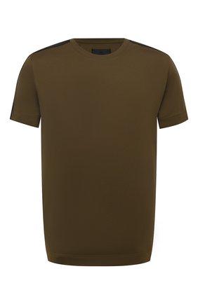 Мужская хлопковая футболка GIVENCHY хаки цвета, арт. BM714Q3Y6B | Фото 1 (Материал внешний: Хлопок; Рукава: Короткие; Длина (для топов): Стандартные; Принт: Без принта)