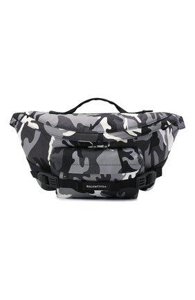 Мужская текстильная поясная сумка army BALENCIAGA серого цвета, арт. 644035/2VZI7   Фото 1 (Материал: Текстиль; Ремень/цепочка: На ремешке)
