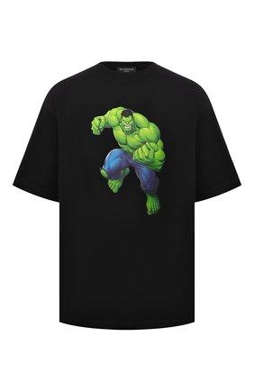Мужская хлопковая футболка BALENCIAGA черного цвета, арт. 612966/TLV59 | Фото 1 (Длина (для топов): Стандартные; Рукава: Короткие; Материал внешний: Хлопок; Принт: С принтом)