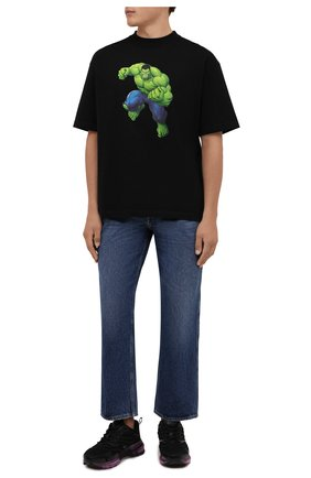 Мужская хлопковая футболка BALENCIAGA черного цвета, арт. 612966/TLV59 | Фото 2 (Длина (для топов): Стандартные; Рукава: Короткие; Материал внешний: Хлопок; Принт: С принтом)