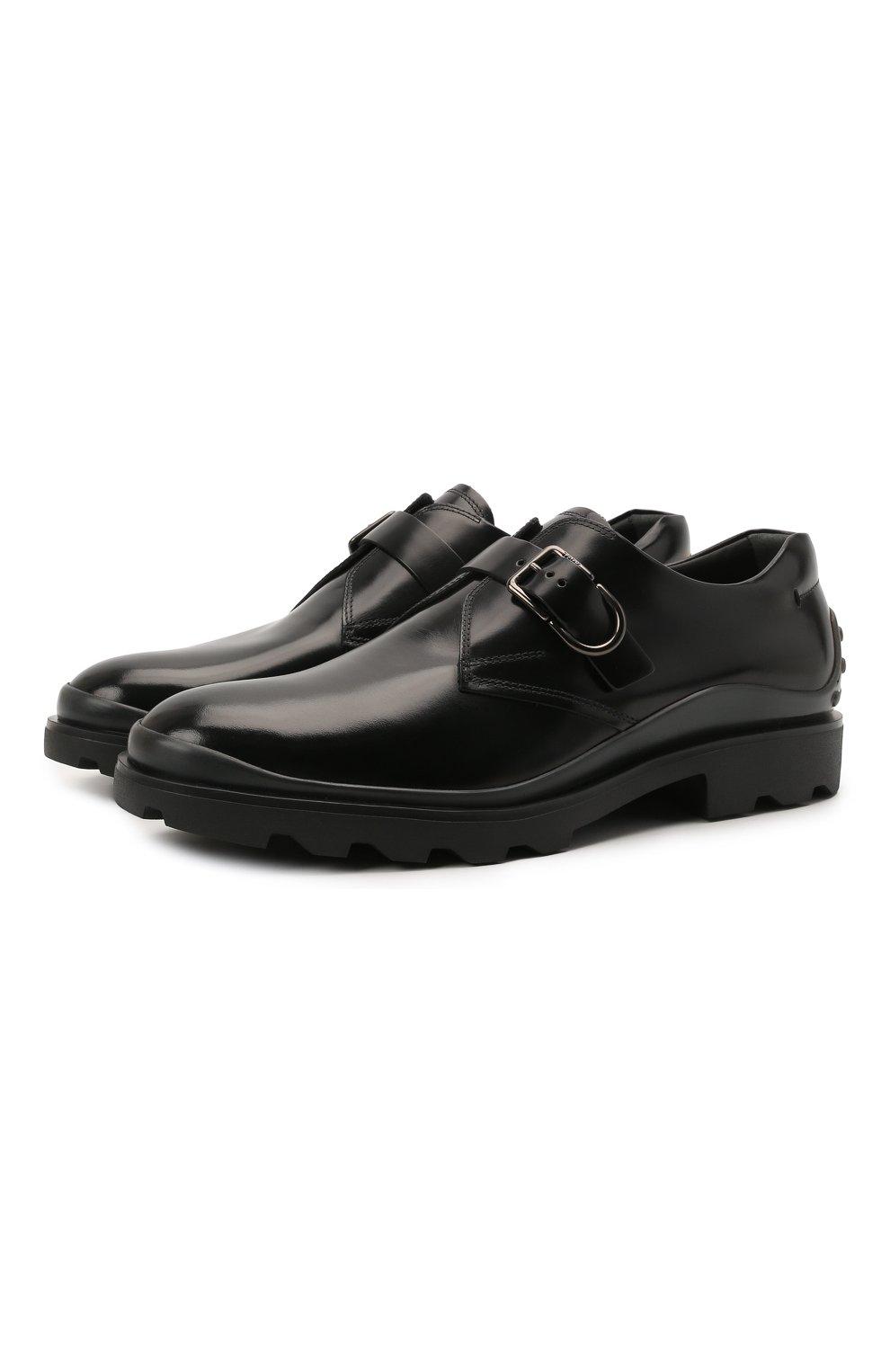 Мужские кожаные монки TOD'S черного цвета, арт. XXM04E00TN0LYG   Фото 1 (Материал внутренний: Натуральная кожа; Стили: Классический)