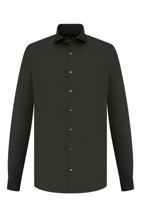 Мужская хлопковая рубашка VAN LAACK хаки цвета, арт. M-PER-L/180031 | Фото 1 (Материал внешний: Хлопок; Случай: Повседневный; Принт: Однотонные; Рубашки М: Classic Fit; Манжеты: На пуговицах; Воротник: Акула; Рукава: Длинные; Длина (для топов): Стандартные)