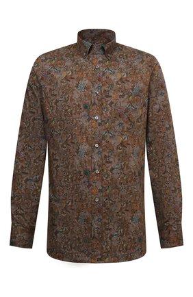 Мужская хлопковая сорочка VAN LAACK коричневого цвета, арт. R0Y-SF/171846 | Фото 1 (Рукава: Длинные; Материал внешний: Хлопок; Длина (для топов): Стандартные; Случай: Формальный; Принт: С принтом; Рубашки М: Regular Fit; Манжеты: На пуговицах; Воротник: Button down)