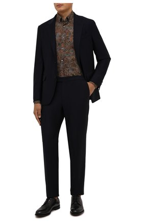 Мужская хлопковая сорочка VAN LAACK коричневого цвета, арт. R0Y-SF/171846 | Фото 2 (Рукава: Длинные; Материал внешний: Хлопок; Длина (для топов): Стандартные; Случай: Формальный; Принт: С принтом; Рубашки М: Regular Fit; Манжеты: На пуговицах; Воротник: Button down)