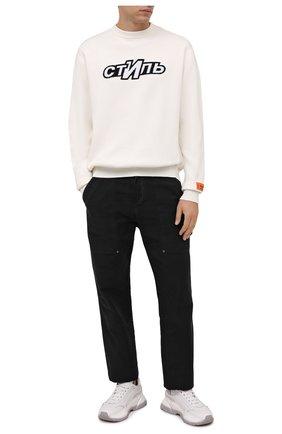 Мужской хлопковый свитер HERON PRESTON кремвого цвета, арт. HMHE006F21KNI0030401 | Фото 2 (Материал внешний: Хлопок; Длина (для топов): Стандартные; Рукава: Длинные; Мужское Кросс-КТ: Свитер-одежда; Принт: С принтом)