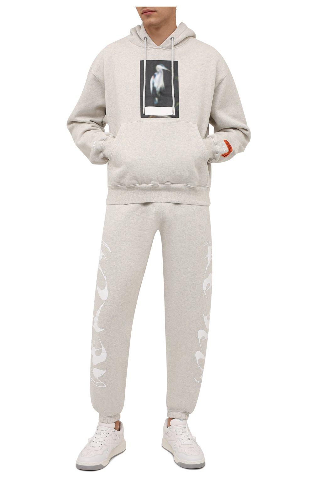 Мужской хлопковое худи HERON PRESTON серого цвета, арт. HMBB017F21JER0010805   Фото 2 (Рукава: Длинные; Длина (для топов): Стандартные; Принт: С принтом; Мужское Кросс-КТ: Худи-одежда; Материал внешний: Хлопок)