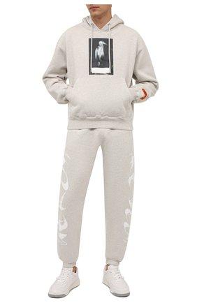 Мужской хлопковое худи HERON PRESTON серого цвета, арт. HMBB017F21JER0010805 | Фото 2 (Рукава: Длинные; Длина (для топов): Стандартные; Материал внешний: Хлопок; Мужское Кросс-КТ: Худи-одежда; Принт: С принтом)