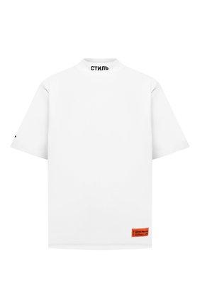 Мужская хлопковая футболка HERON PRESTON белого цвета, арт. HMAA021F21JER0040110 | Фото 1 (Рукава: Короткие; Длина (для топов): Стандартные; Материал внешний: Хлопок; Принт: С принтом)