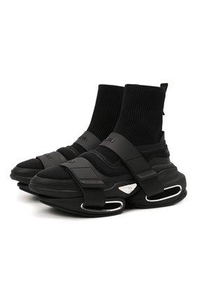 Мужские кроссовки b-bold BALMAIN черного цвета, арт. WM1VH229/TLKP   Фото 1 (Материал внешний: Текстиль; Материал внутренний: Натуральная кожа, Текстиль; Подошва: Массивная; Стили: Гранж)