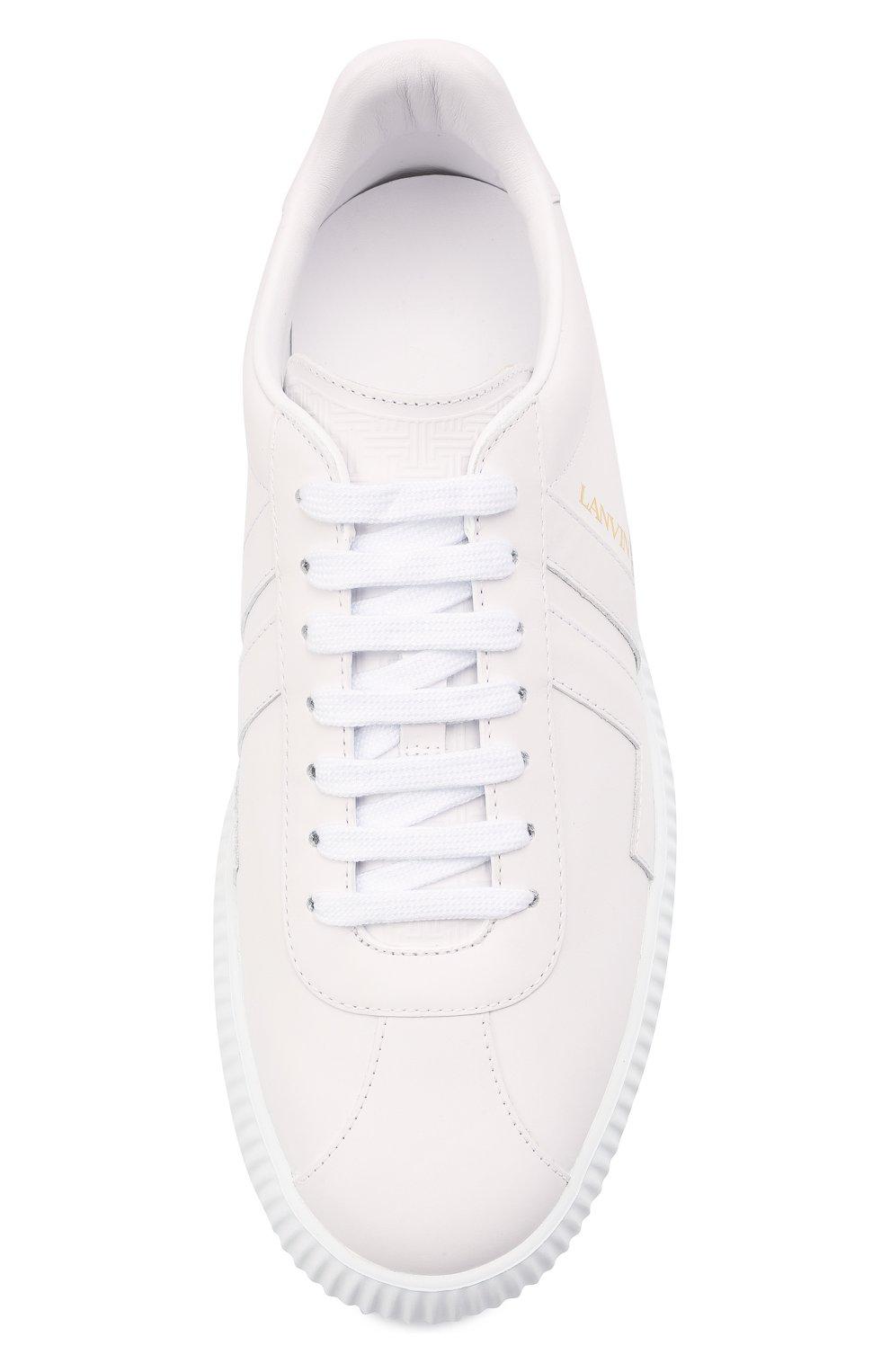 Мужские кожаные кеды LANVIN белого цвета, арт. FM-SKLS00-NAPA-A21 | Фото 5 (Материал внутренний: Натуральная кожа; Подошва: Массивная)