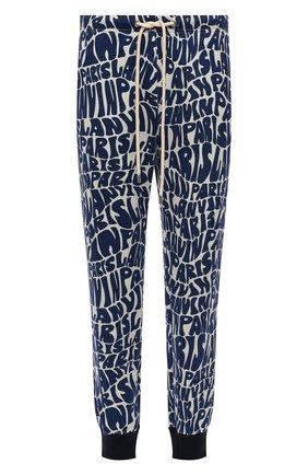 Мужские хлопковые джоггеры LANVIN синего цвета, арт. RM-TR0041-J064-A21 | Фото 1 (Материал внешний: Хлопок; Длина (брюки, джинсы): Стандартные; Силуэт М (брюки): Джоггеры; Мужское Кросс-КТ: Брюки-трикотаж)