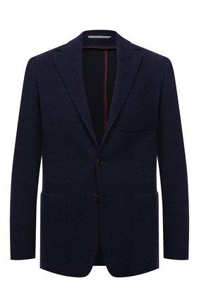 Мужской шерстяной пиджак CANALI синего цвета, арт. J0147/JJ02177 | Фото 1 (Материал внешний: Шерсть; Длина (для топов): Стандартные; Рукава: Длинные; 1-2-бортные: Однобортные; Случай: Коктейльный; Пиджаки М: Приталенный)