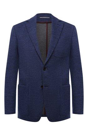 Мужской пиджак из шерсти и хлопка CANALI синего цвета, арт. J0147/JJ02165 | Фото 1 (Материал внешний: Шерсть, Хлопок; 1-2-бортные: Однобортные; Случай: Коктейльный; Пиджаки М: Приталенный; Рукава: Длинные; Длина (для топов): Стандартные)
