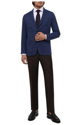 Мужской пиджак из шерсти и хлопка CANALI синего цвета, арт. J0147/JJ02165 | Фото 2 (Материал внешний: Шерсть, Хлопок; 1-2-бортные: Однобортные; Случай: Коктейльный; Пиджаки М: Приталенный; Рукава: Длинные; Длина (для топов): Стандартные)