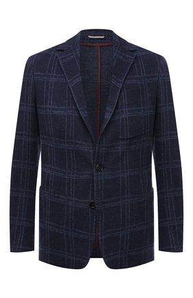 Мужской пиджак из хлопка и шерсти CANALI темно-синего цвета, арт. J0147/JJ02163 | Фото 1 (Материал внешний: Хлопок; 1-2-бортные: Однобортные; Случай: Коктейльный; Пиджаки М: Приталенный; Рукава: Длинные; Длина (для топов): Стандартные)
