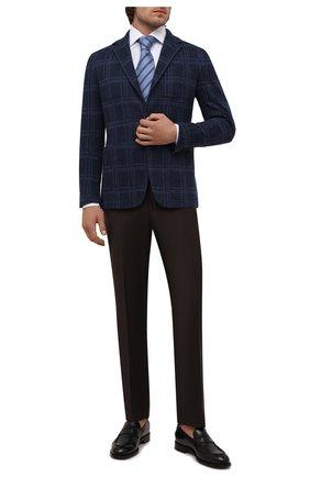 Мужской пиджак из хлопка и шерсти CANALI темно-синего цвета, арт. J0147/JJ02163 | Фото 2 (Материал внешний: Хлопок; 1-2-бортные: Однобортные; Случай: Коктейльный; Пиджаки М: Приталенный; Рукава: Длинные; Длина (для топов): Стандартные)