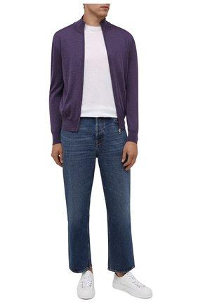 Мужской шерстяной кардиган CANALI фиолетового цвета, арт. C0022/MK00077   Фото 2 (Материал внешний: Шерсть; Мужское Кросс-КТ: Кардиган-одежда; Рукава: Длинные; Длина (для топов): Стандартные)