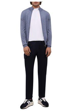 Мужской шерстяной кардиган CANALI голубого цвета, арт. C0022/MK00077 | Фото 2 (Материал внешний: Шерсть; Мужское Кросс-КТ: Кардиган-одежда; Длина (для топов): Стандартные; Рукава: Длинные)