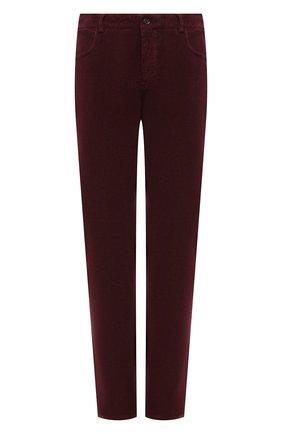 Мужские хлопковые брюки CANALI бордового цвета, арт. 91551/PT00499 | Фото 1 (Материал внешний: Хлопок; Случай: Повседневный; Длина (брюки, джинсы): Стандартные)