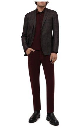 Мужские хлопковые брюки CANALI бордового цвета, арт. 91551/PT00499 | Фото 2 (Материал внешний: Хлопок; Случай: Повседневный; Длина (брюки, джинсы): Стандартные)
