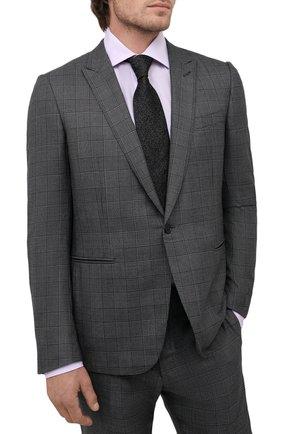 Мужской шелковый галстук CANALI темно-серого цвета, арт. 70/HJ03247   Фото 2